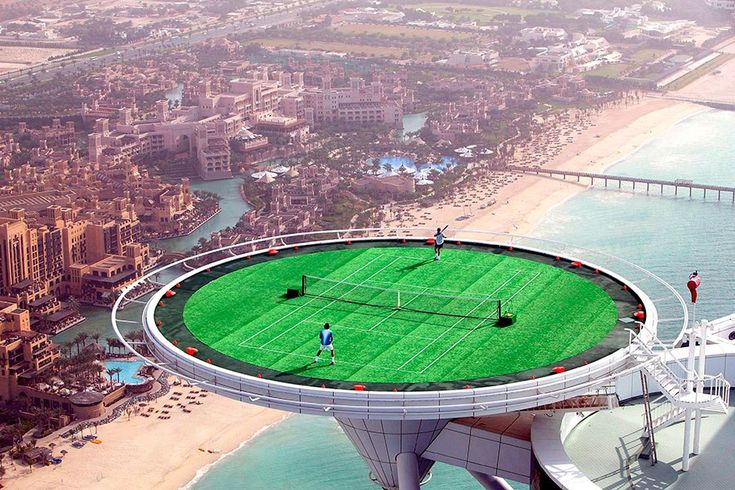 Air Ball: The world's highest tennis court rests atop Dubai's Burj al Arab. At about 690 feet, the grass court offers panoramic views and a thrilling match not for the faint of heart.