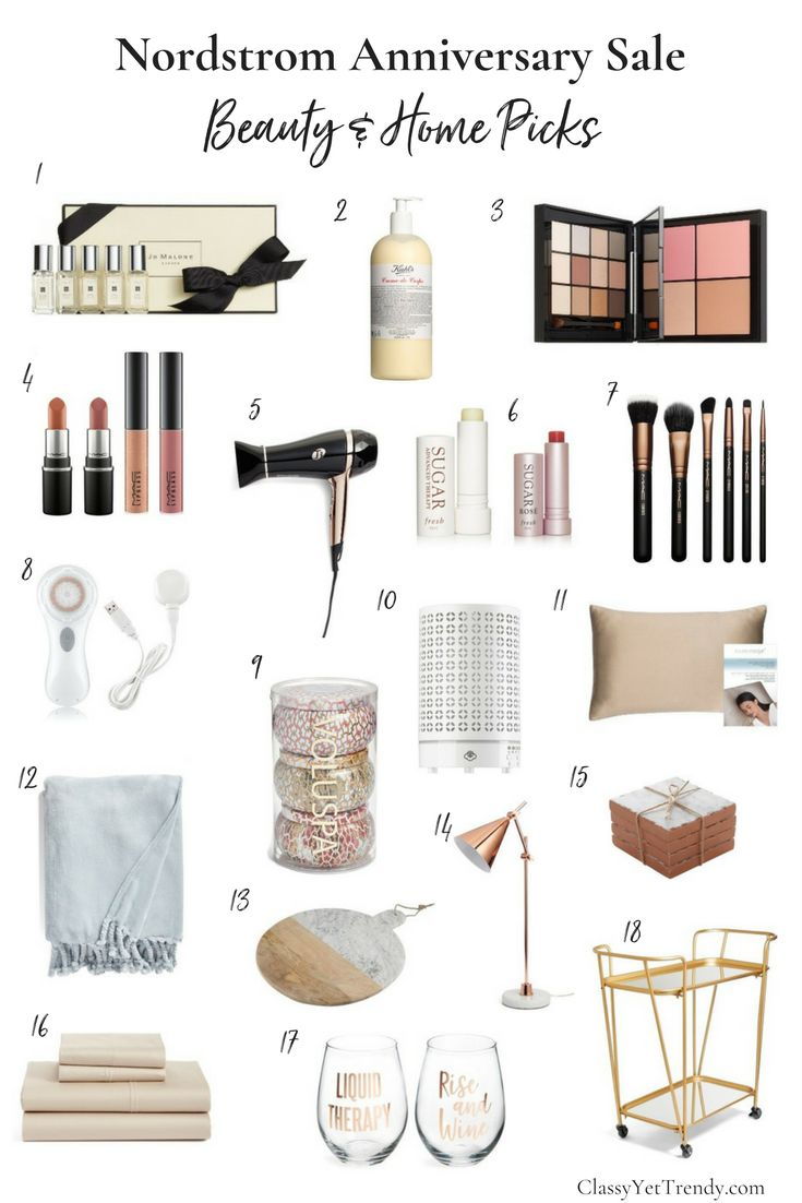 Nordstrom Anniversary Sale: Beauty and Home - favorite picks include T3 hair dryer, makeup, Jo Malone perfume, lipcolor, essential oil diffuser, table lamp, kitchen accessories.