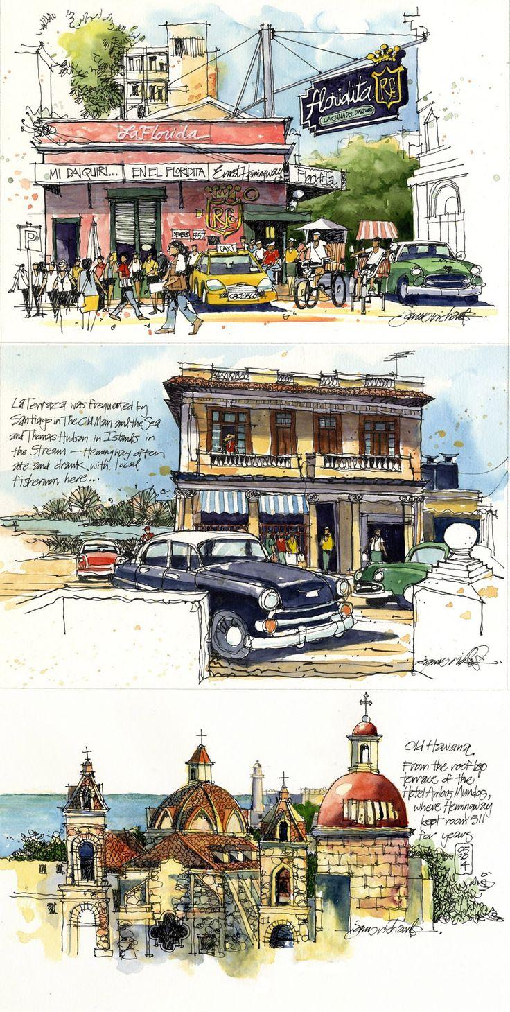 """Hemingway's Cuba"" exhibition opens in the writer's Cuban home http://www.jamesrichardssketchbook.com/2015/06/hemingways-cuba-exhibition-opens-in.html"