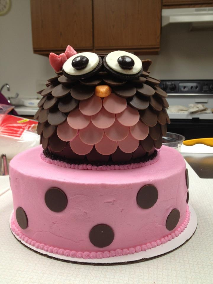 Owl cake, made with candy melts.  #wiltoncontest