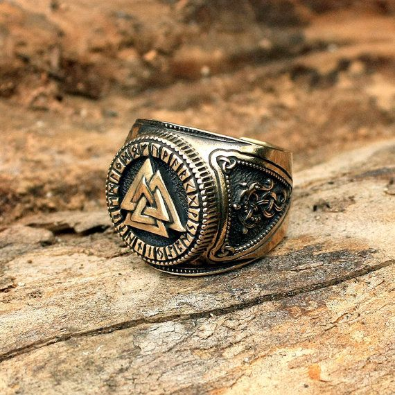This is a real solid bronze heavy set 3-dimentional hand-crafted antique finish adjustable size ring. The bronze ring features a Valknut on the front