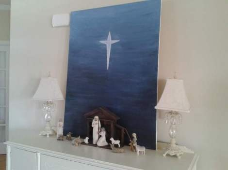 easy Christmas DIY canvas to go behind nativity, gradated night sky and cross/star