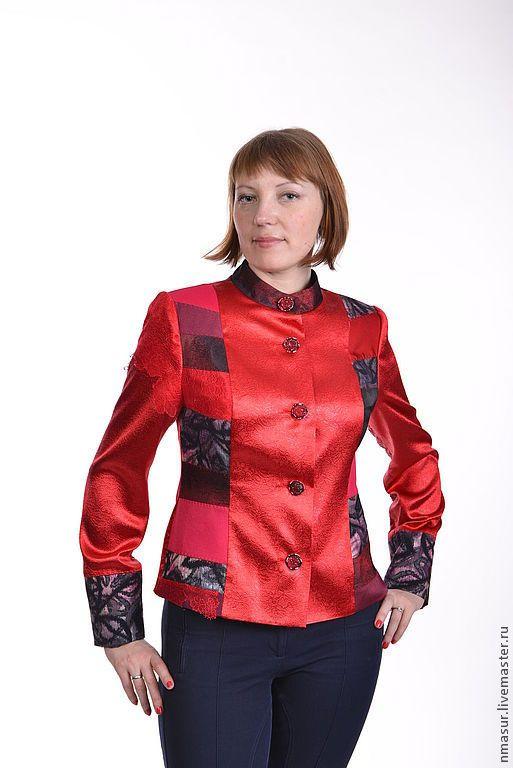 """Купить Куртка красная """"Маков цвет"""" - куртка, куртка женская, демисезонная куртка, пэчворк, в полоску"""