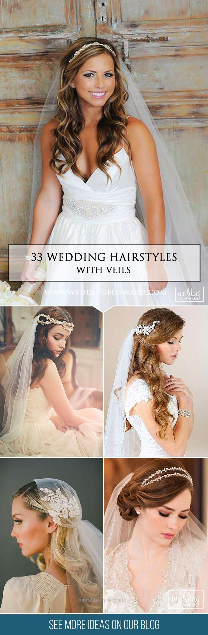 Splendid 33 Wedding Hairstyles With Veil   We picked up wedding hairstyles with veil for updos and half-down, bun, long and short hair special for you. It is an undisputed symbol of every bride.  ..