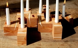 Wood block candleholder (idea for manorrah)