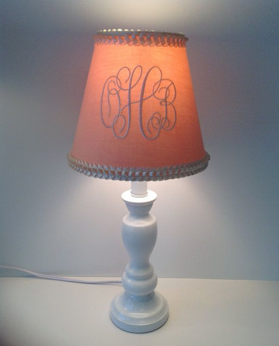 Eleanor Monogrammed Lamp Shade Peach Ivory Ruffled Trim on Etsy, $52.00