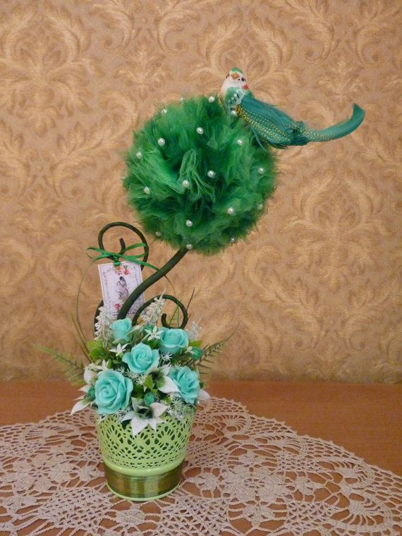 Topiaryflower arrangementfloral by FlowerKingdomArt on Etsy