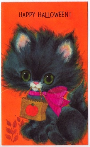 Vintage Greeting Card Halloween Kitty Cat