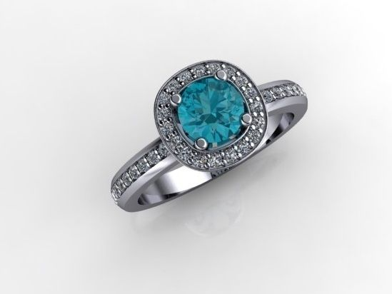 'BLAINE' --  Pretty Halo Ring with Pierced Basket detail set with Antique Cut Topaz  & Accent Baby Diamonds in 8ct White Gold.