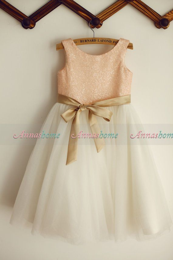 Love, love, love Blush Pink Sequin Ivory Tulle Flower Girl Dress by annashome