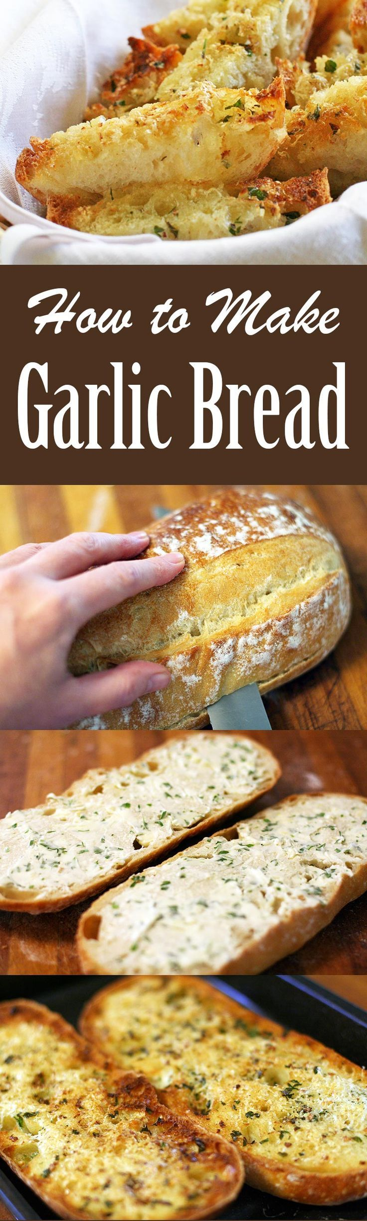 How to Make the BEST Garlic Bread! 2 EASY ways—one toasted and crispy from the broiler, the other soft from being wrapped in aluminum foil and heated in the oven.