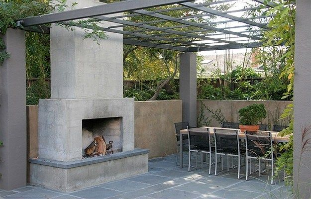 Modern Outdoor Fireplace, Concrete Outdoor Fireplace Outdoor Fireplace Huettl Thuilot Landscape Architecture Construction ,
