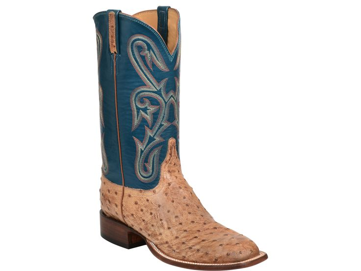 Lucchese Men's Cowboy Boots   Julian   Full Quill Ostrich in Tan and Garganey Blue #LuccheseBoots #Rodeo