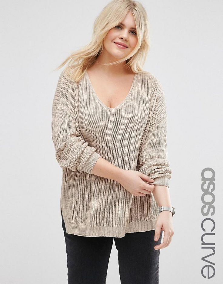 ASOS Curve | ASOS CURVE Chunky Sweater with Side Splits and V Neck at ASOS