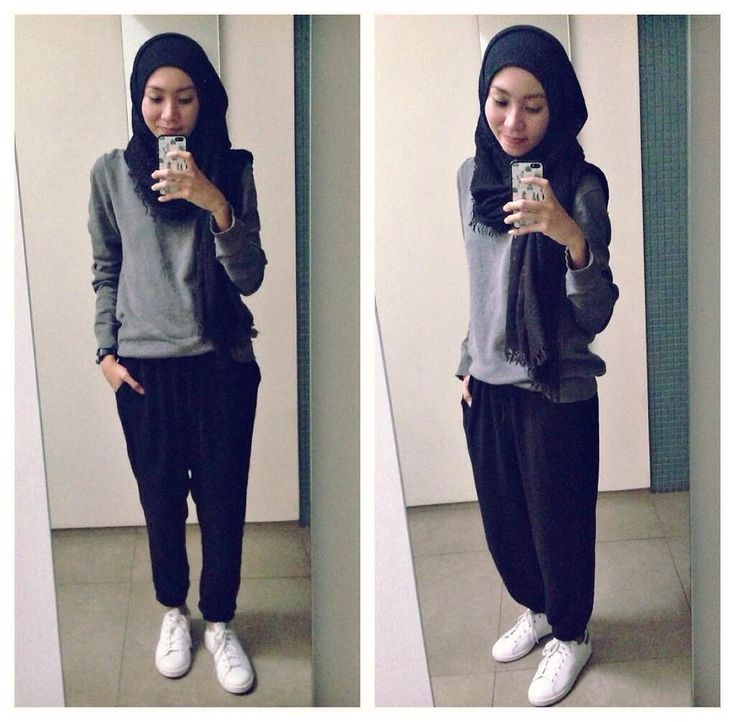 Syaifiena W lookbook.nu/syaifiena  ootd. casual hijab outfit  minimalist hijab outfit, monochrome outfit, casual hijab, stan smith, jogger pants, white snekers, pashmina, sweater