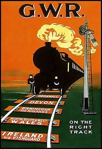 GWR Cornwall devon Wales Ireland Railway Travel Poster