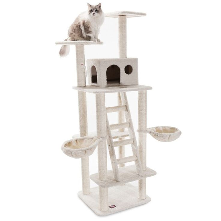 "72"" Bungalow Cat Tree Condo Scratching Post"