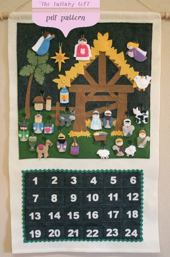Nativity Advent Calendar PATTERN Instant por thelullabyloft