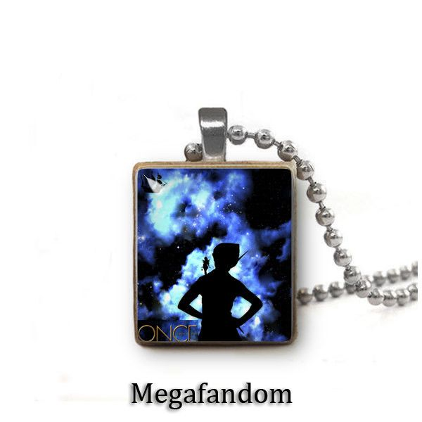 Peter Pan Scrabble Tile Pendant with ball chain Once upon a time Jewelry