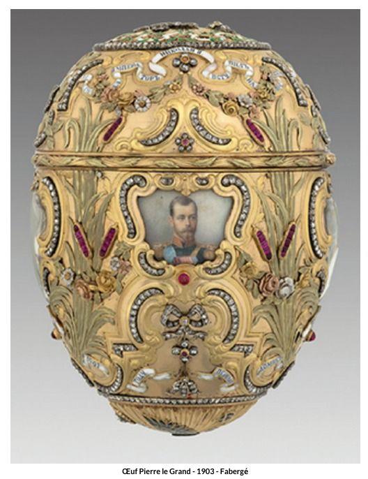 Les Œufs de Fabergé ont été créés pour Alexandre III et Nicolas II de Russie, qui les offraient à leurs épouses respectives...