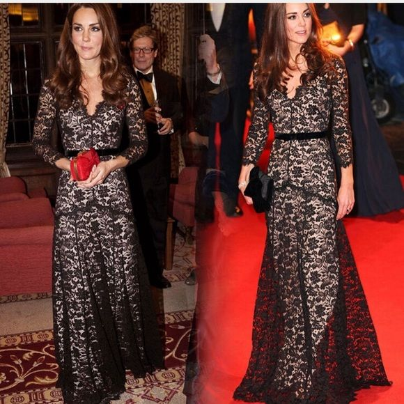 """Kate Middleton Inspired Lace Dress Black Brand new dress! Only been tried on once to determine that it wasn't the right type of dress for my body type ☹ it's a beautiful long mermaid style dress that hugs the waist but is flowy at the bottom! Very elegant! The area around the neck is not torn that is just the way the dress was made  if you would like a close up of the neck area I will gladly post it for ya!  Dress is approximately 57"""" long and is stretchy! Let me know if you have questions…"""