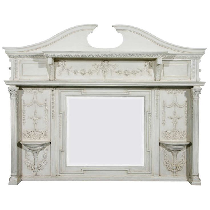 An English Edwardian Period Neo-classical Style Painted Over Mantel Mirror | From a unique collection of antique and modern mantel mirrors and fireplace mirrors at https://www.1stdibs.com/furniture/mirrors/mantel-mirrors-fireplace-mirrors/
