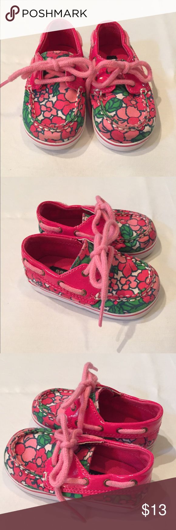 Toddler Girl's Sperry Top Sider Shoes, Size 3M Toddler girl's Sperry Top Siders pink floral shoes, size 3M, great preowned condition Sperry Top-Sider Shoes Sneakers
