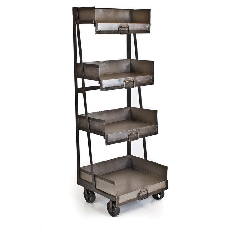 Iron 4 Shelf Industrial Bookcase Antique Nickel: Jake S Room, Bookcases, Shelf Industrial, Furniture, Antique Nickel, Iron, Antiques