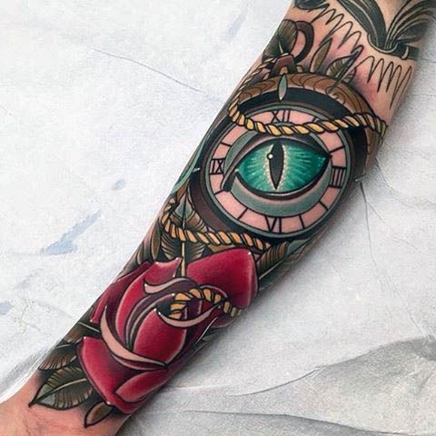 Guys Forearms Blue Eye And Rose Neo Traditional Tattoo