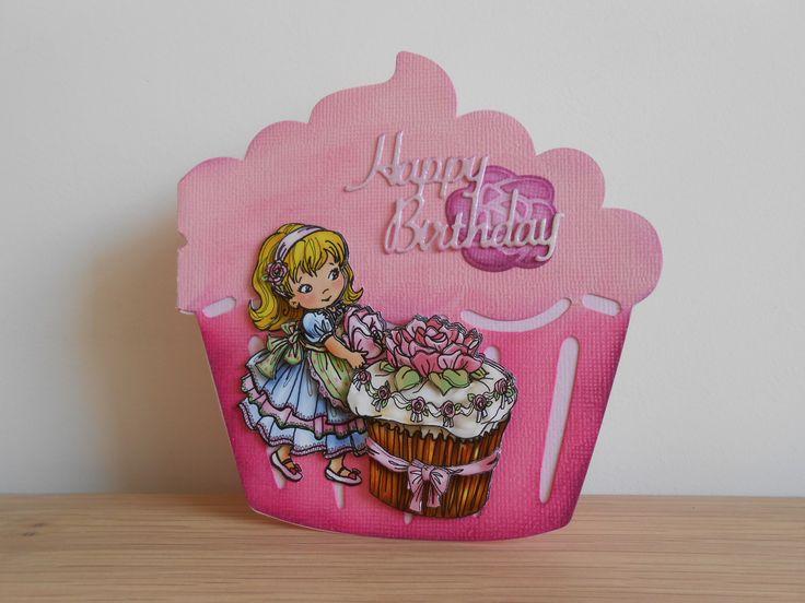 Handgemaakte vrolijke kaart. Thema gefeliciteerd, fijne verjaardag, cupcakes, rozen en gebakjes.