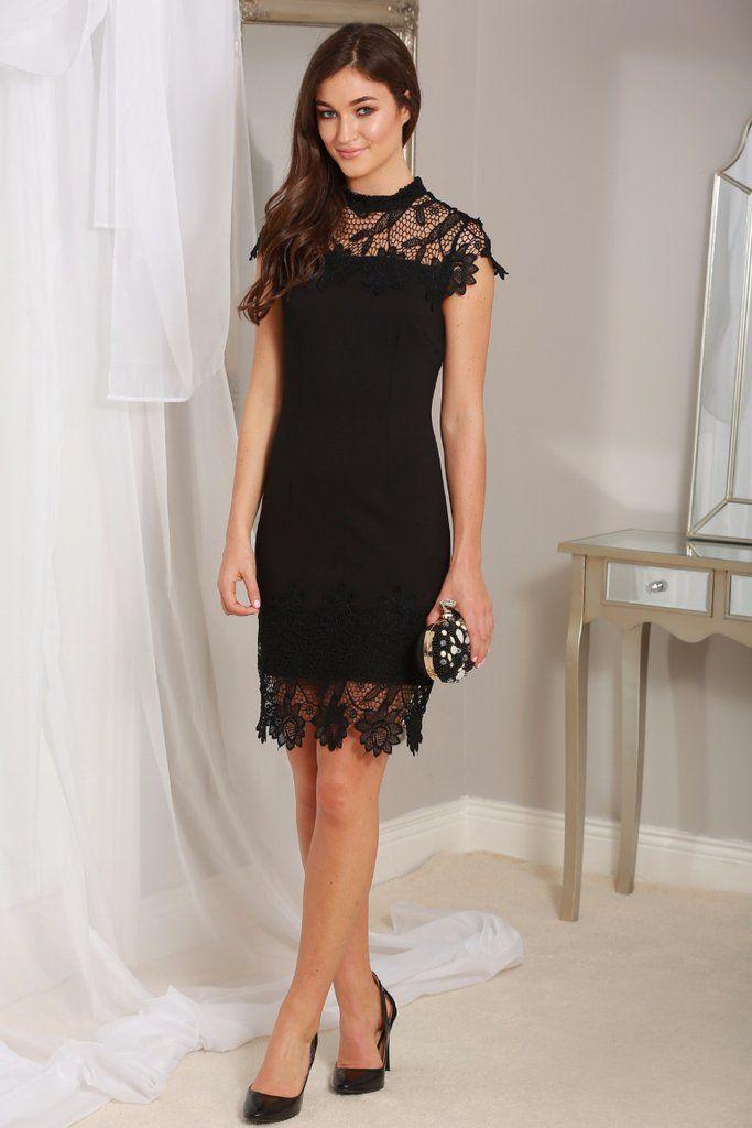 Fresh Briona Black Crochet Lace Overlay Midi Dress Wedding Guest