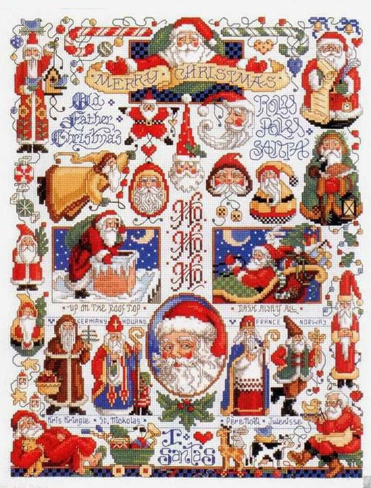 "Counted Cross Stitch Patterns Chart ""Christmas Santa Claus"""