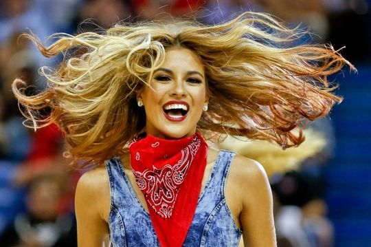 Dec 2, 2014; New Orleans, LA, USA; A member of the New Orleans Pelicans dance team performs during the second quarter of a game against the Oklahoma City Thunder at the Smoothie King Center. The Pelicans defeated the Thunder 112-104. Mandatory Credit: Derick E. Hingle-USA TODAY Sports