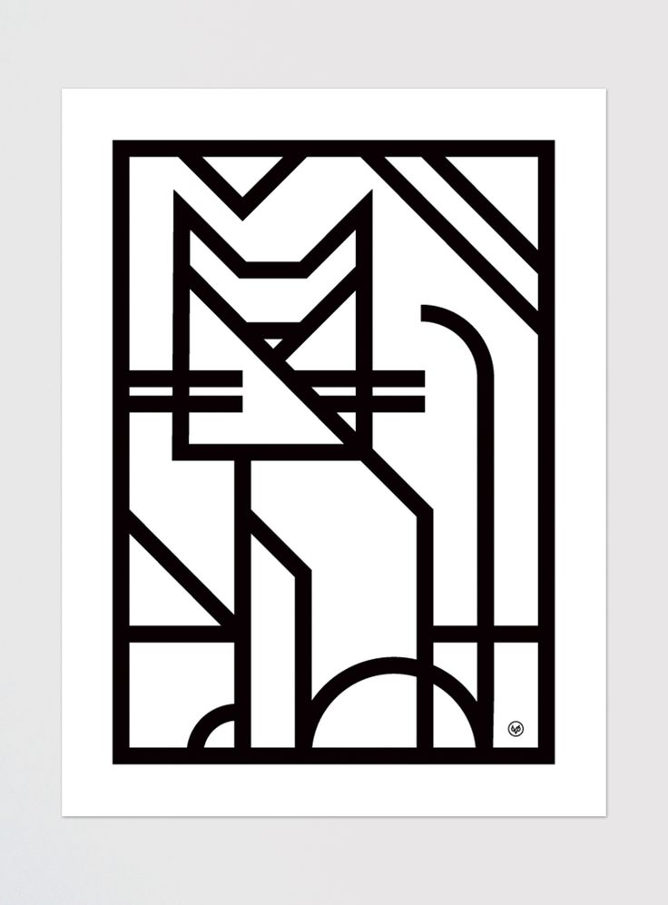 "Mid-Century modern style wall print for animal lovers. Reducing an object  down to its basic shapes and form is where the heart of the true minimalist  lives.   Digital print on white archival paper.  18"" x 24""  Ships in a rigid tube to protect from damage."