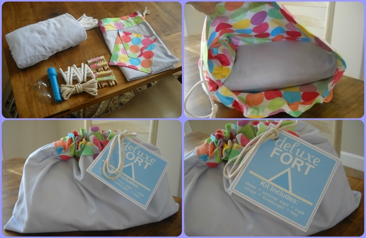 "This ""build-your-own-fort-kit"" has been a big hit with the birthday kiddos and their parents, it is inexpensive and easy to put together it is my new go-to bday present! I've only included 1 twin size sheet and about 10 clothespins but you can have more. I've also been using a matching pillowcase cut in half and lined with a coordinating print, then made into a drawstring bag, which just seemed easier to me but you could just use the pillow case the way it is or any other bag you find."