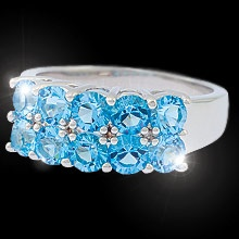 """""""Aqua Blue Waters""""  $ 69.99 CAD -   Like a gentle tide lapping the shore, ripples of round aqua blue cubic zirconia adorn a polished band finished in rich rhodium. Nickel and lead free. Size 8"""