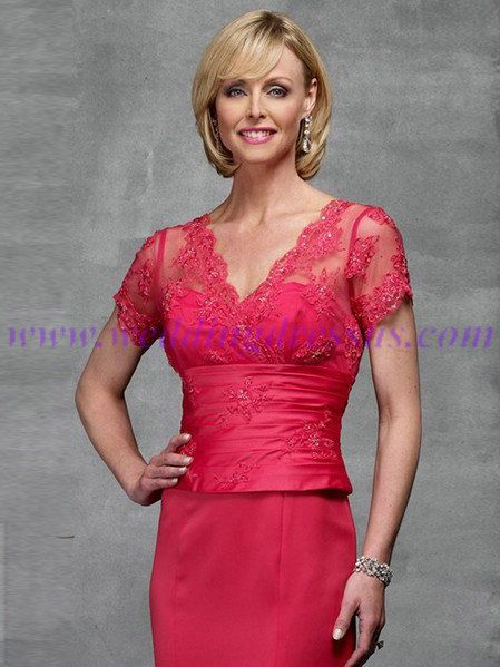 long fuschia pink bride maid dresses with lace