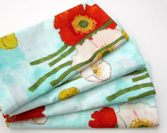 Cloth Napkins  Set of 4  Red White Yellow Poppy by ClearSkyHome