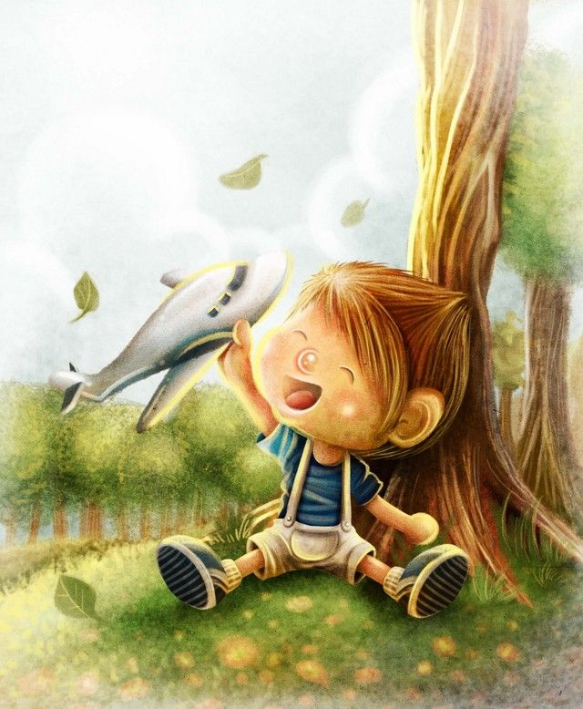 """Aaron and Airplane  Illustration for children book """"Aaron and the Magic Apple"""" written by Arleen A. Illustration by: Evan Raditya Pratomo. www.papercaptain.com"""