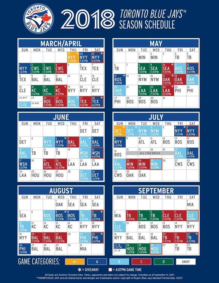 Toronto Blue Jays 2018 Season Schedule
