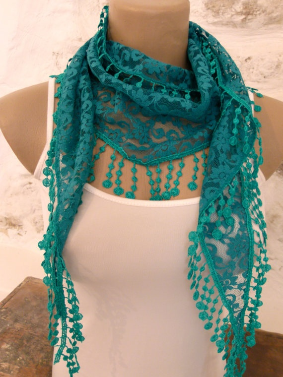 Green turquoise lace scarf Elegant and stylish by ShawlsandtheCity, $15.00