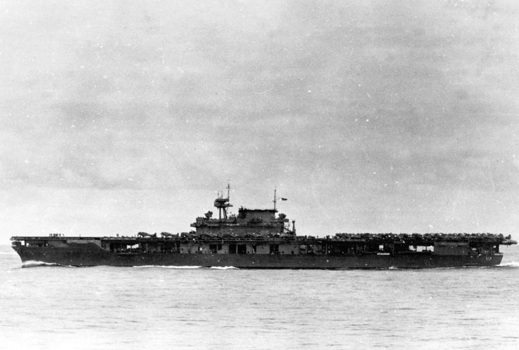 USS Yorktown (CV-5) underway at Midway on the morning of 4 June 1942.