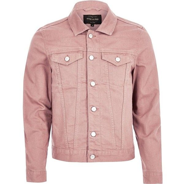 River Island Pink denim jacket ($55) ❤ liked on Polyvore featuring men's fashion, men's clothing, men's outerwear, men's jackets, jackets, pink, mens denim jacket and mens pink jacket