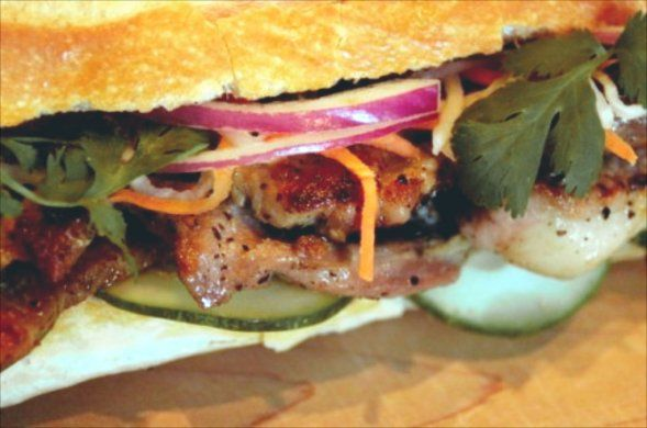 One of my ALL time favorite sandwiches - Bahn Mi with grilled pork & pate (gotta have the pate!)