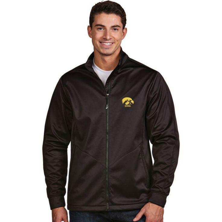 Antigua Men's Iowa Hawkeyes Black Performance Golf Jacket, Size: Medium, Team
