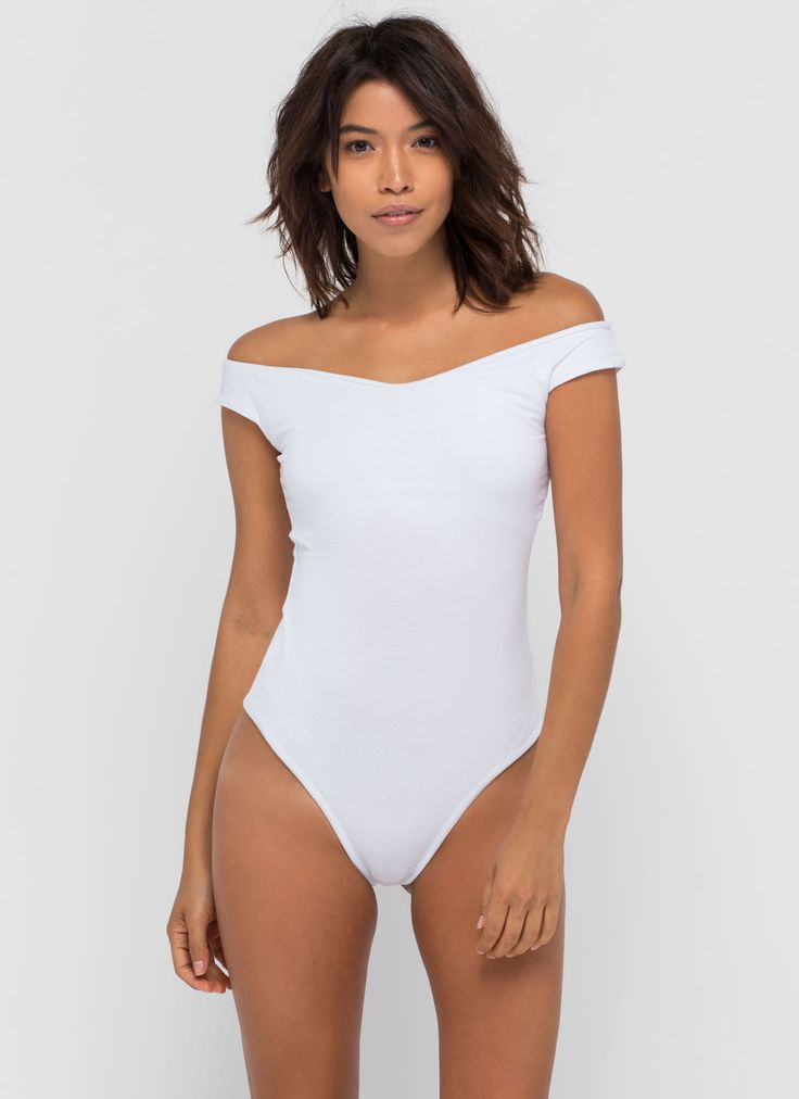Shrug It Off-The-Shoulder Bodysuit WHITE  BLACK  BROWN - GoJane.com
