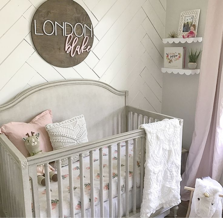 Herringbone Shiplap Accent Wall in Girlu0027s Nursery