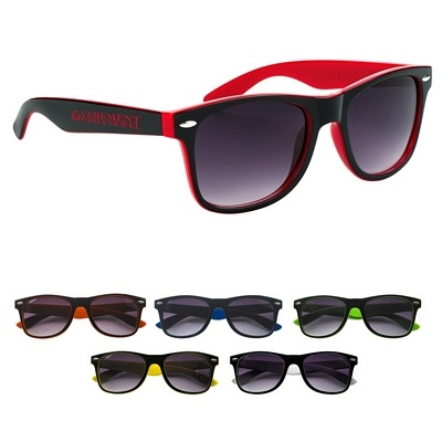 The COOLEST Wedding Sunglasses Ever! Great for wedding parties and destination weddings. Promotional Two-Tone Malibu Sunglasses | Customized Sunglasses | Promotional Sunglasses. These Sunglasses sell for $2.39/each with no setup fees!