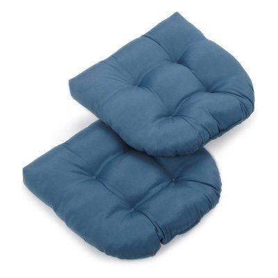 Blazing Needles Twill U-Shaped Indoor Chair Cushion - Set of 2 Indigo Blue - 93184-2CH-TW-IN