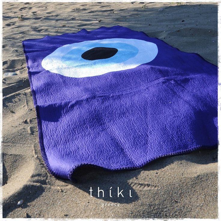 Blue Evil Eye Beach Towel